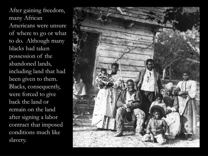 After gaining freedom, many African Americans were unsure of where to go or what to do.  Although many blacks had taken possession of the abandoned lands, including land that had been given to them. Blacks, consequently, were forced to give back the land or remain on the land after signing a labor contract that imposed conditions much like slavery.