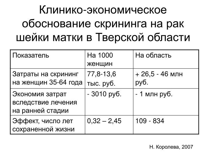 Клинико-экономическое обоснование скрининга на рак шейки матки в Тверской области