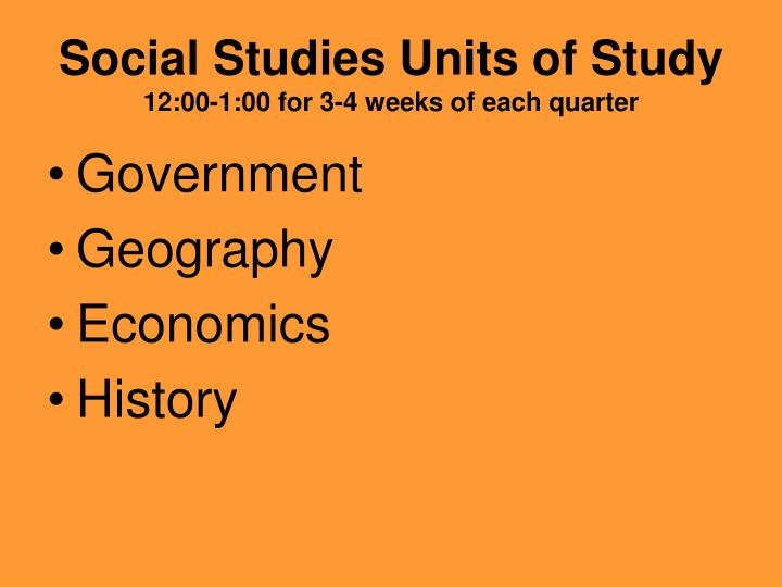 Social Studies Units of Study