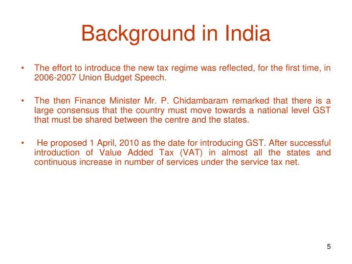 Background in India