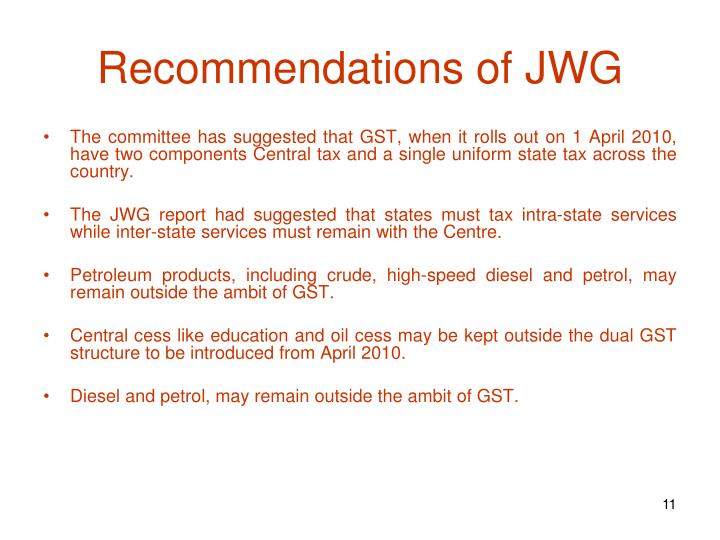 Recommendations of JWG