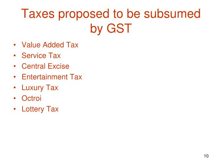 Taxes proposed to be subsumed by GST