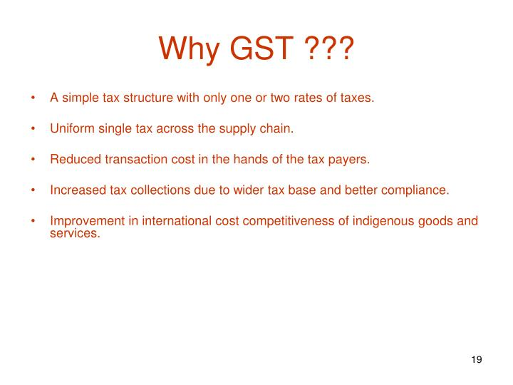 Why GST ???