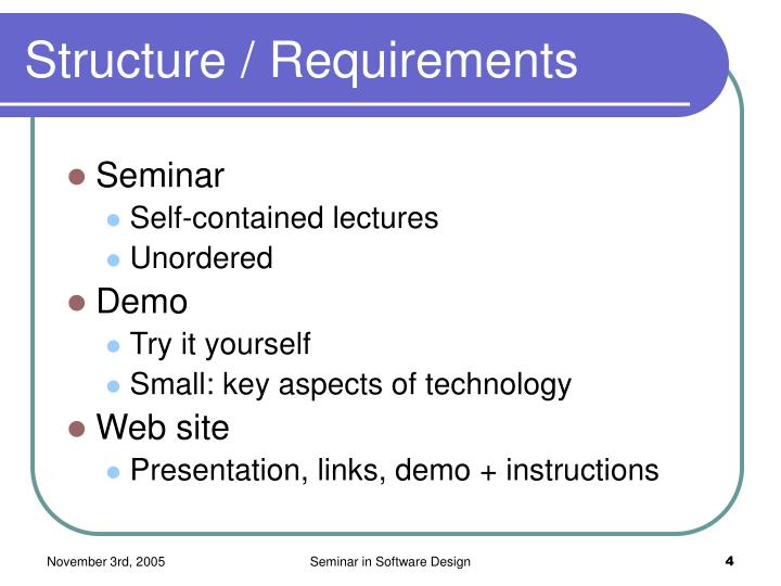 Structure / Requirements