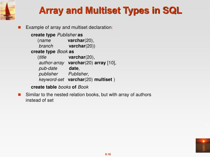 Array and Multiset Types in SQL