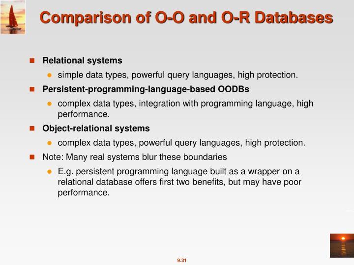 Comparison of O-O and O-R Databases