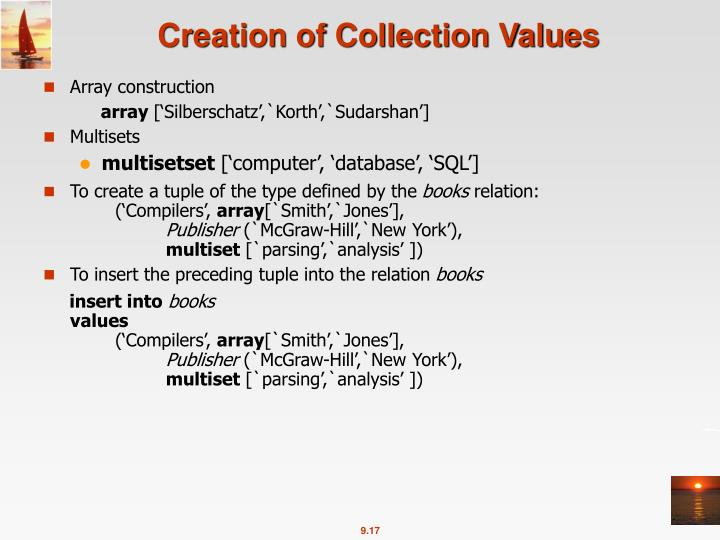 Creation of Collection Values