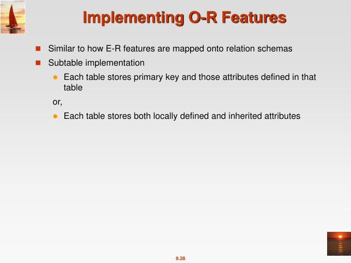 Implementing O-R Features