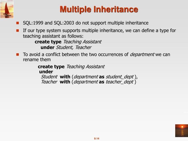 SQL:1999 and SQL:2003 do not support multiple inheritance