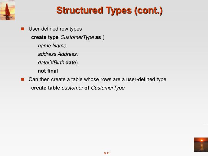 Structured Types (cont.)