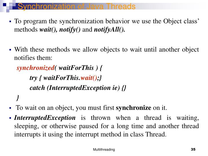 Synchronization of Java Threads