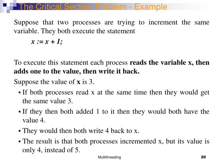 The Critical Section Problem - Example