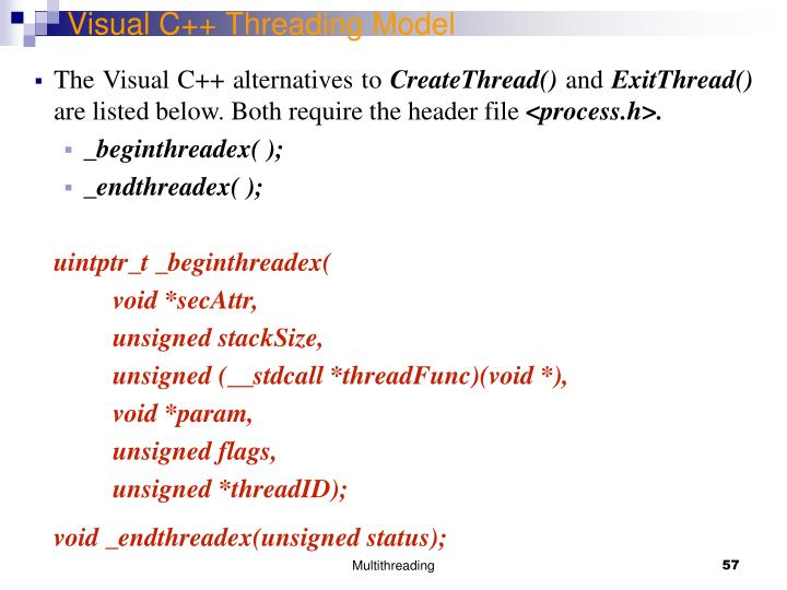 Visual C++ Threading Model