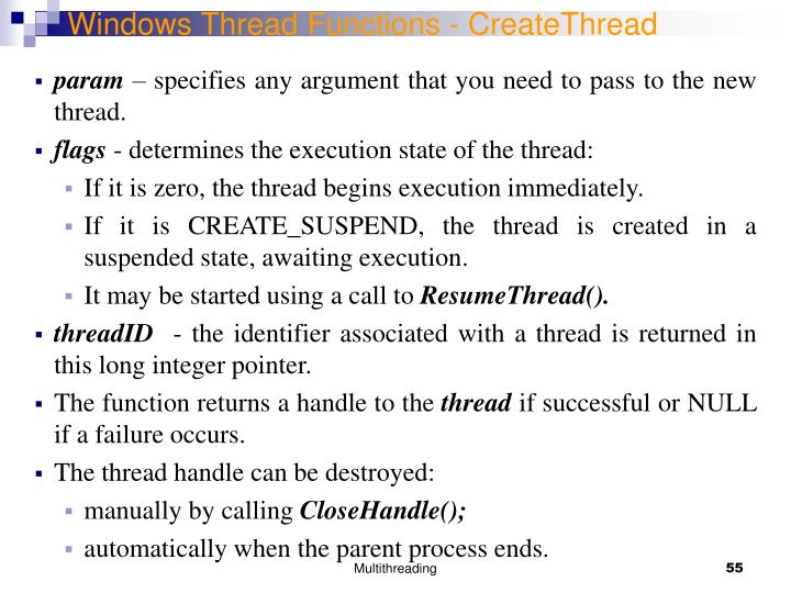 Windows Thread Functions - CreateThread