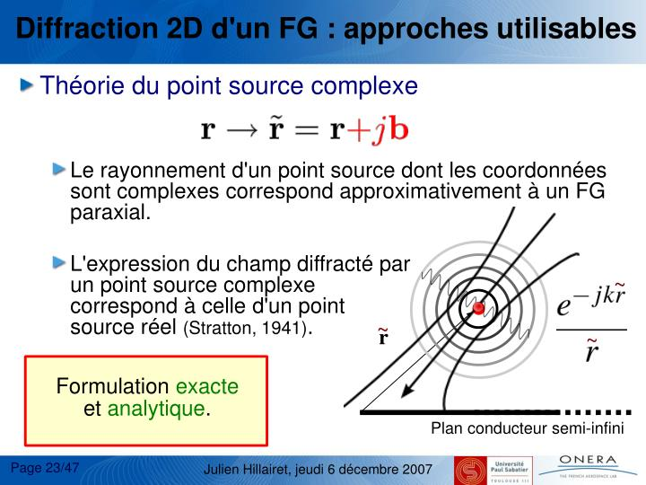 Diffraction 2D d'un FG : approches utilisables