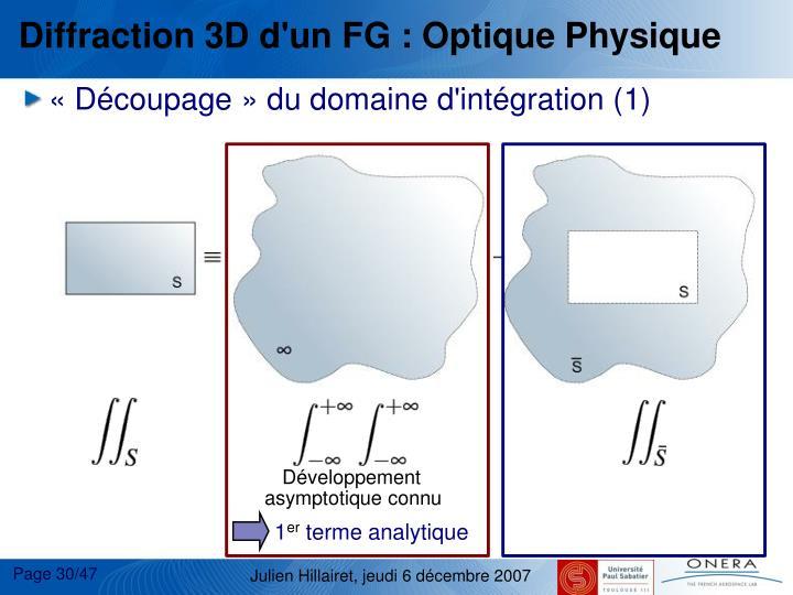 Diffraction 3D d'un FG : Optique Physique
