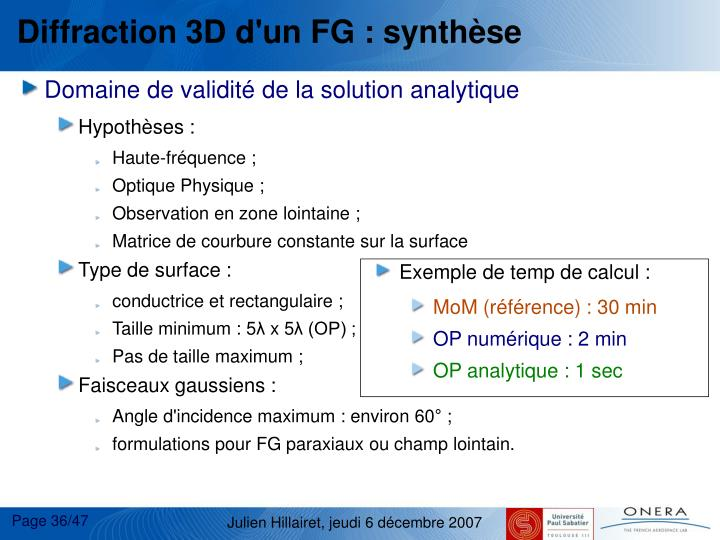 Diffraction 3D d'un FG : synthse