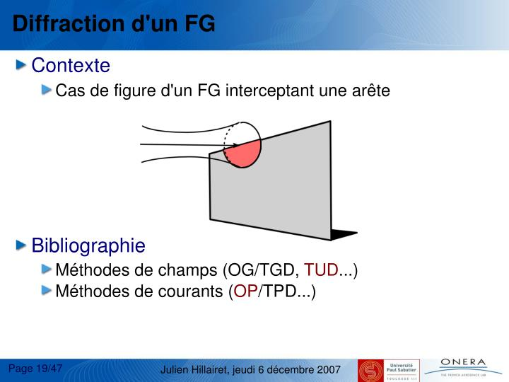 Diffraction d'un FG