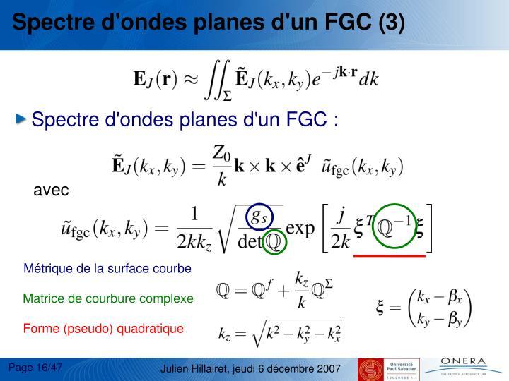 Spectre d'ondes planes d'un FGC (3)