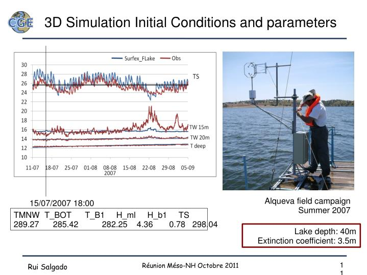 3D Simulation Initial Conditions and parameters