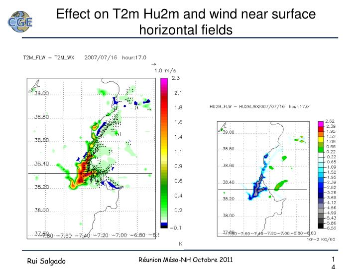 Effect on T2m Hu2m and wind near surface horizontal fields