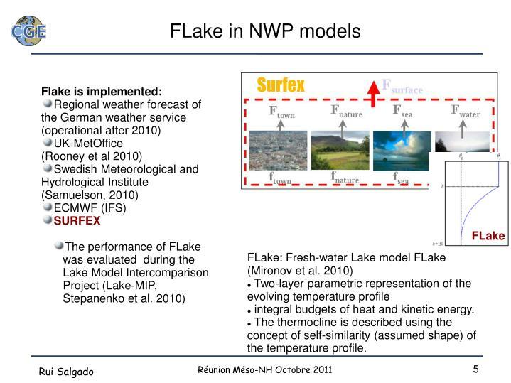 FLake in NWP models