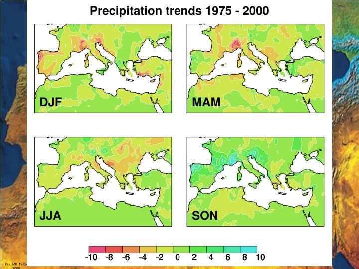 Precipitation trends 1975 - 2000