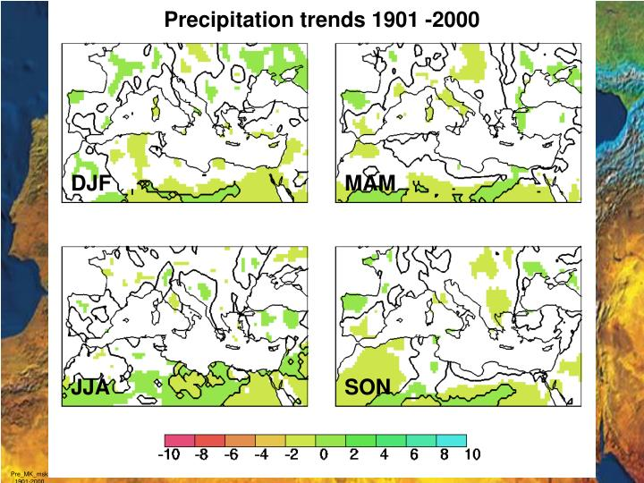 Precipitation trends 1901 -2000
