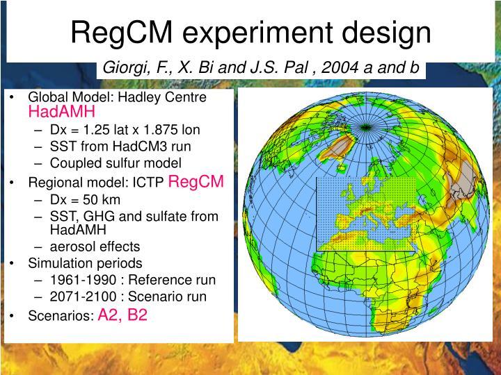 RegCM experiment design