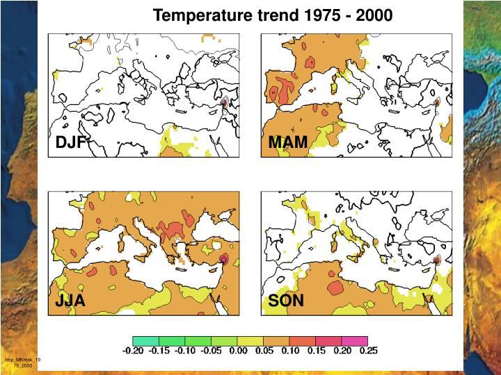 Temperature trend 1975 - 2000