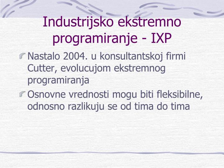 Industrijsko ekstremno programiranje - IXP