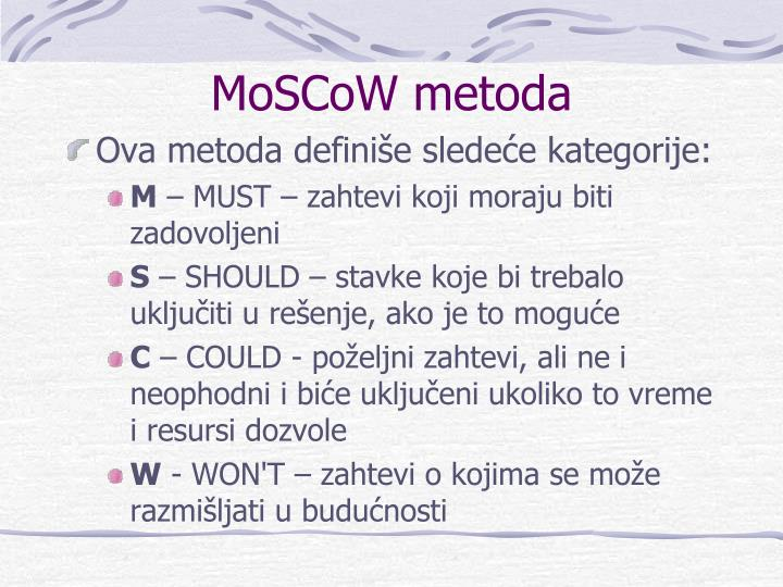 MoSCoW metoda