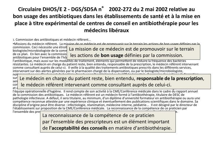 CirculaireDHOS/E 2 - DGS/SD5A n°2002-272 du 2mai2002 relative au bon usage des antibiotiques dans les établissements de santé et à la mise en place à titre expérimental de centres de conseil en antibiothérapie pour les médecins libéraux
