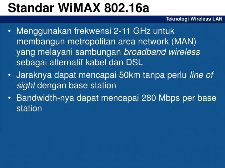 Standar WiMAX 802.16a