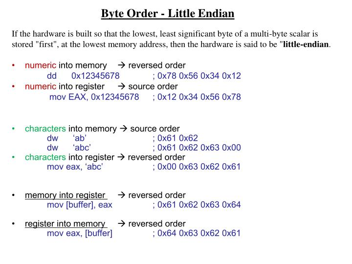 Byte Order -Little Endian