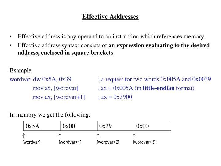 Effective Addresses