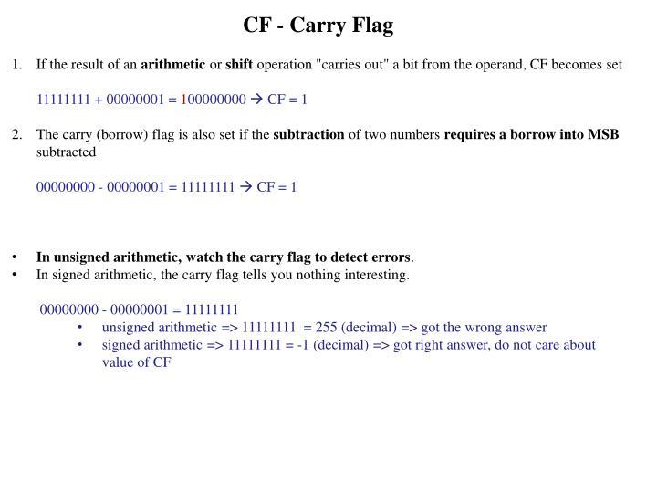 CF - Carry Flag
