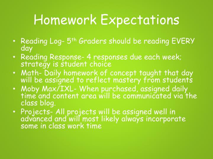Homework Expectations