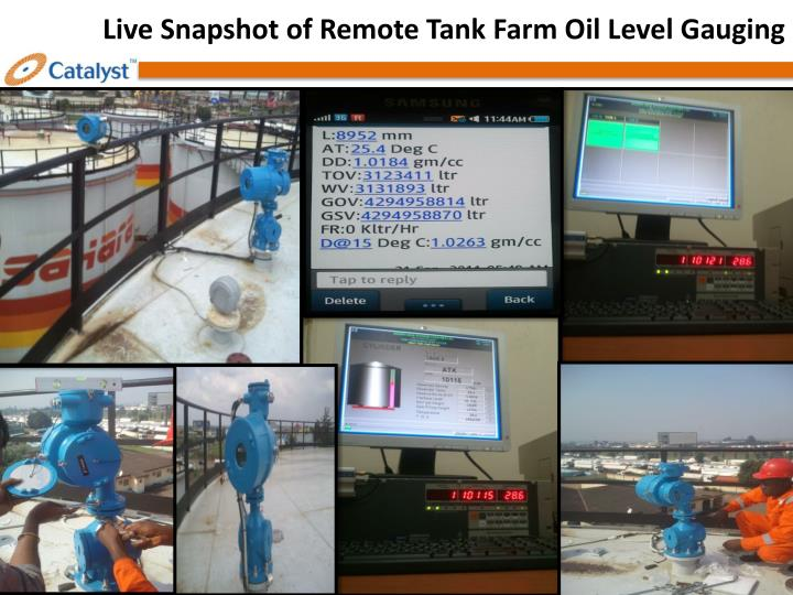 Live Snapshot of Remote Tank Farm Oil Level Gauging