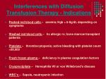 interferences with diffusion transfusion therapy indications