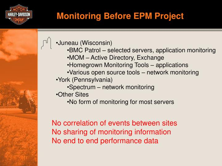Monitoring Before EPM Project