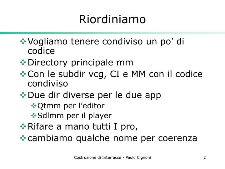 Riordiniamo