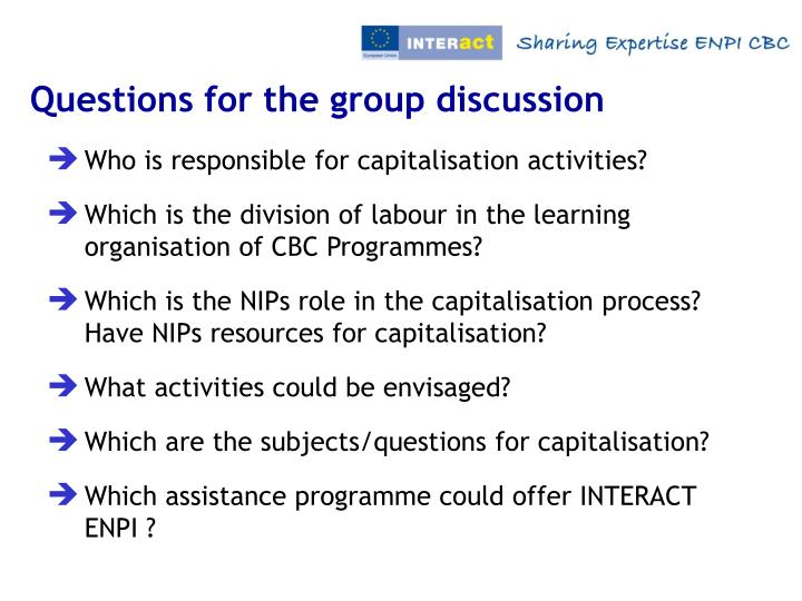 Questions for the group discussion