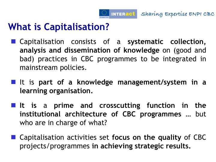 What is Capitalisation?