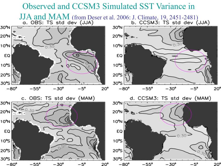 Observed and CCSM3 Simulated SST Variance in JJA and MAM
