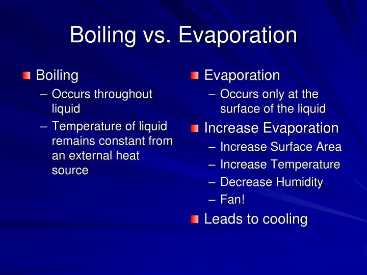 Boiling vs. Evaporation