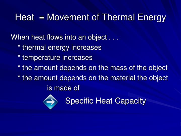Heat  = Movement of Thermal Energy