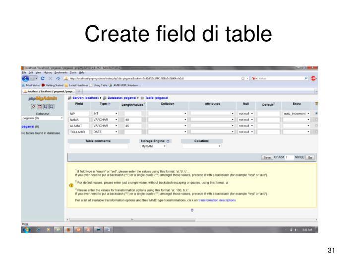 Create field di table