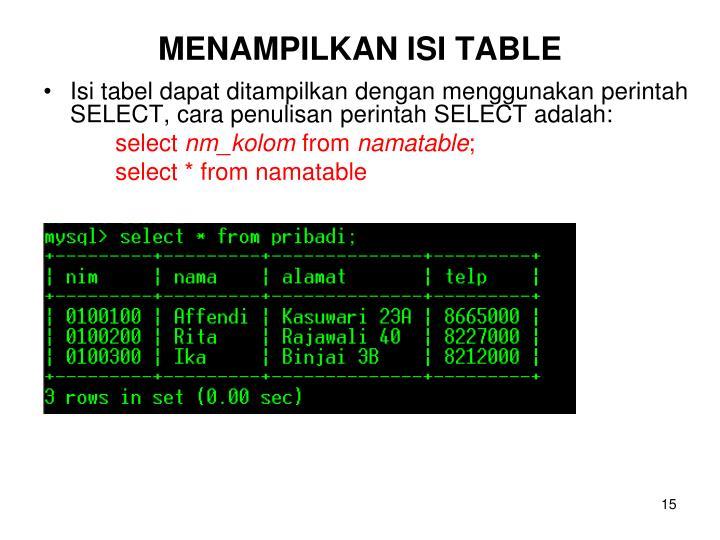 MENAMPILKAN ISI TABLE