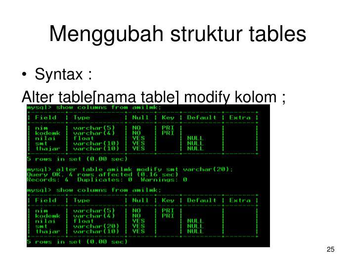 Menggubah struktur tables